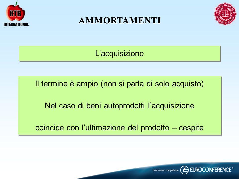 AMMORTAMENTI Lacquisizione Il termine è ampio (non si parla di solo acquisto) Nel caso di beni autoprodotti lacquisizione coincide con lultimazione de