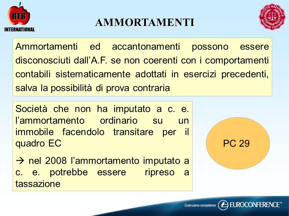 AMMORTAMENTI Ammortamenti ed accantonamenti possono essere disconosciuti dallA.F.