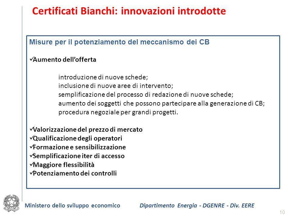 10 Certificati Bianchi: innovazioni introdotte Misure per il potenziamento del meccanismo dei CB Aumento dellofferta introduzione di nuove schede; inc