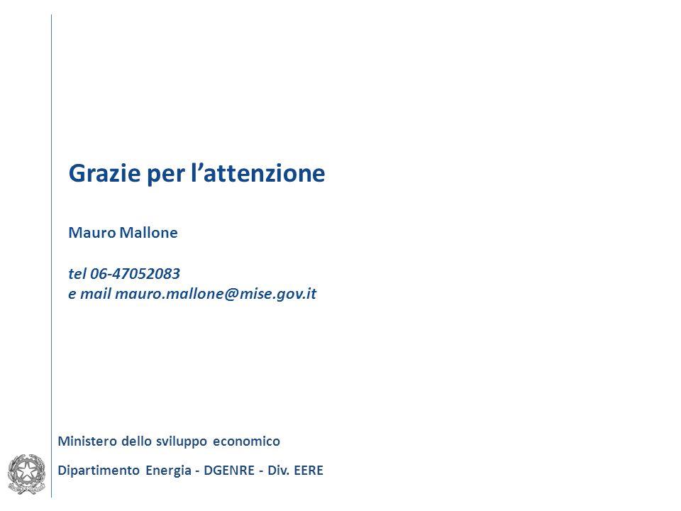 Grazie per lattenzione Mauro Mallone tel 06-47052083 e mail mauro.mallone@mise.gov.it Ministero dello sviluppo economico Dipartimento Energia - DGENRE