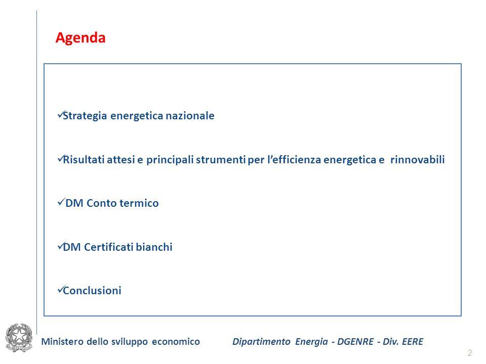 2 Agenda Strategia energetica nazionale Risultati attesi e principali strumenti per lefficienza energetica e rinnovabili DM Conto termico DM Certifica