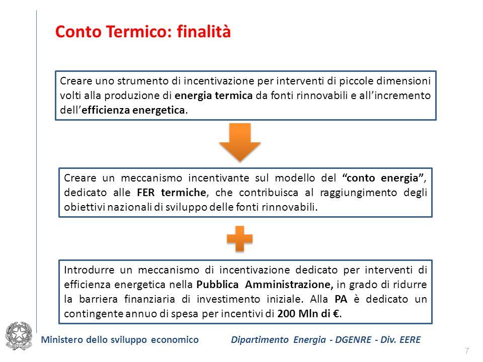 7 Conto Termico: finalità Introdurre un meccanismo di incentivazione dedicato per interventi di efficienza energetica nella Pubblica Amministrazione,