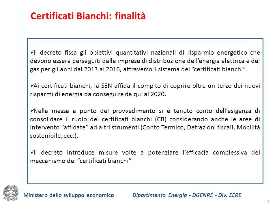 9 Certificati Bianchi: finalità Il decreto fissa gli obiettivi quantitativi nazionali di risparmio energetico che devono essere perseguiti dalle impre