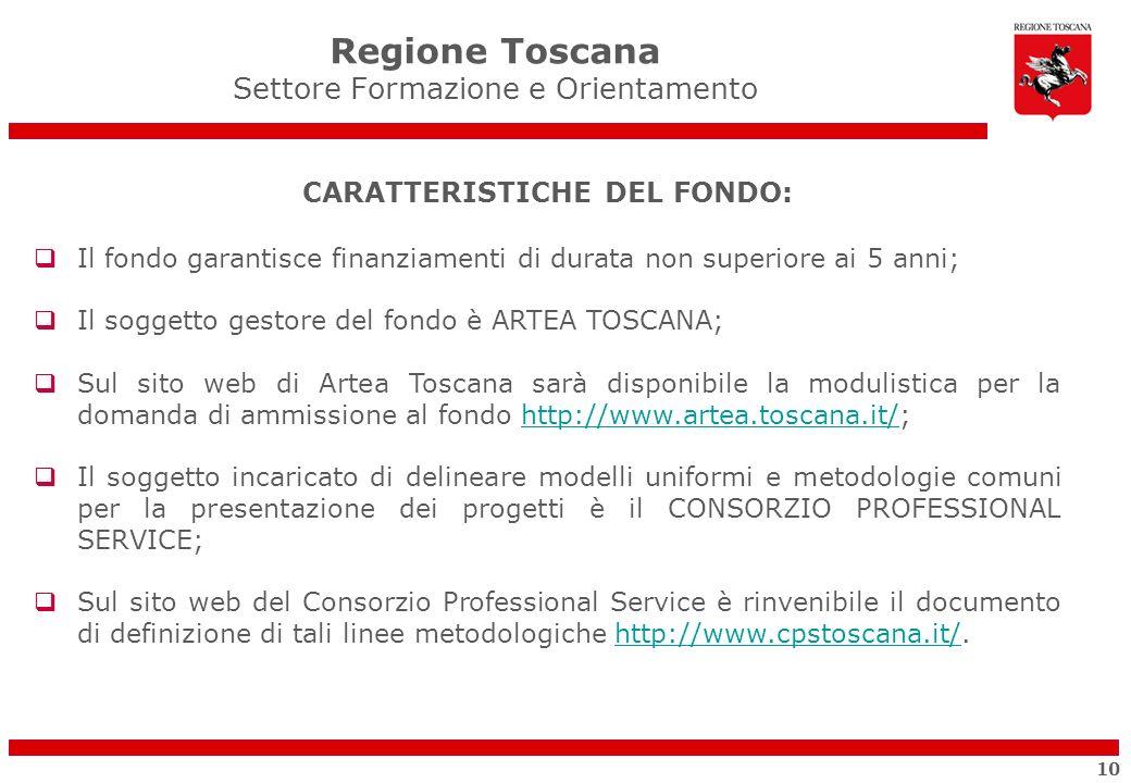 CARATTERISTICHE DEL FONDO: Il fondo garantisce finanziamenti di durata non superiore ai 5 anni; Il soggetto gestore del fondo è ARTEA TOSCANA; Sul sit