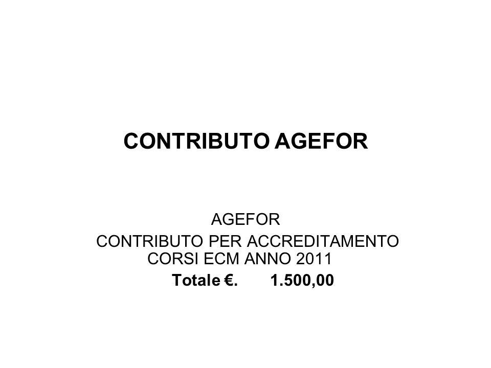 CONTRIBUTO AGEFOR AGEFOR CONTRIBUTO PER ACCREDITAMENTO CORSI ECM ANNO 2011 Totale.1.500,00