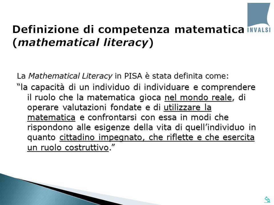 Definizione di competenza matematica (mathematical literacy) La Mathematical Literacy in PISA è stata definita come: la capacità di un individuo di in