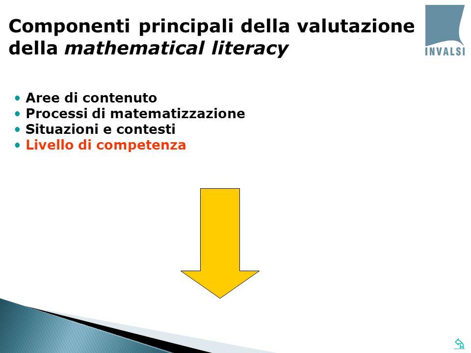 Componenti principali della valutazione della mathematical literacy Aree di contenuto Processi di matematizzazione Situazioni e contesti Livello di co
