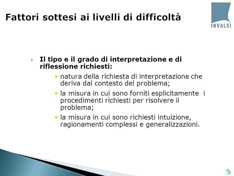 Fattori sottesi ai livelli di difficoltà Il tipo e il grado di interpretazione e di riflessione richiesti: natura della richiesta di interpretazione c
