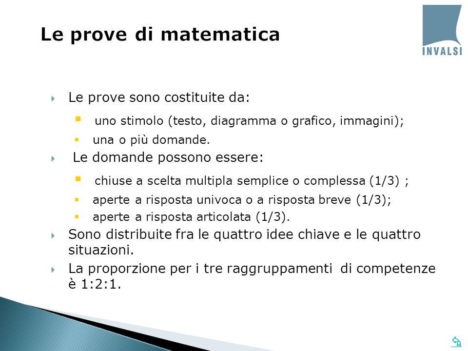 Le prove di matematica Le prove sono costituite da: uno stimolo (testo, diagramma o grafico, immagini); una o più domande. Le domande possono essere: