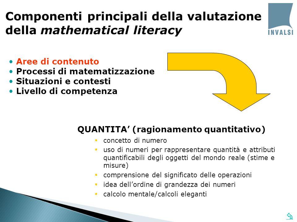 Aree di contenuto Processi di matematizzazione Situazioni e contesti Livello di competenza Componenti principali della valutazione della mathematical literacy