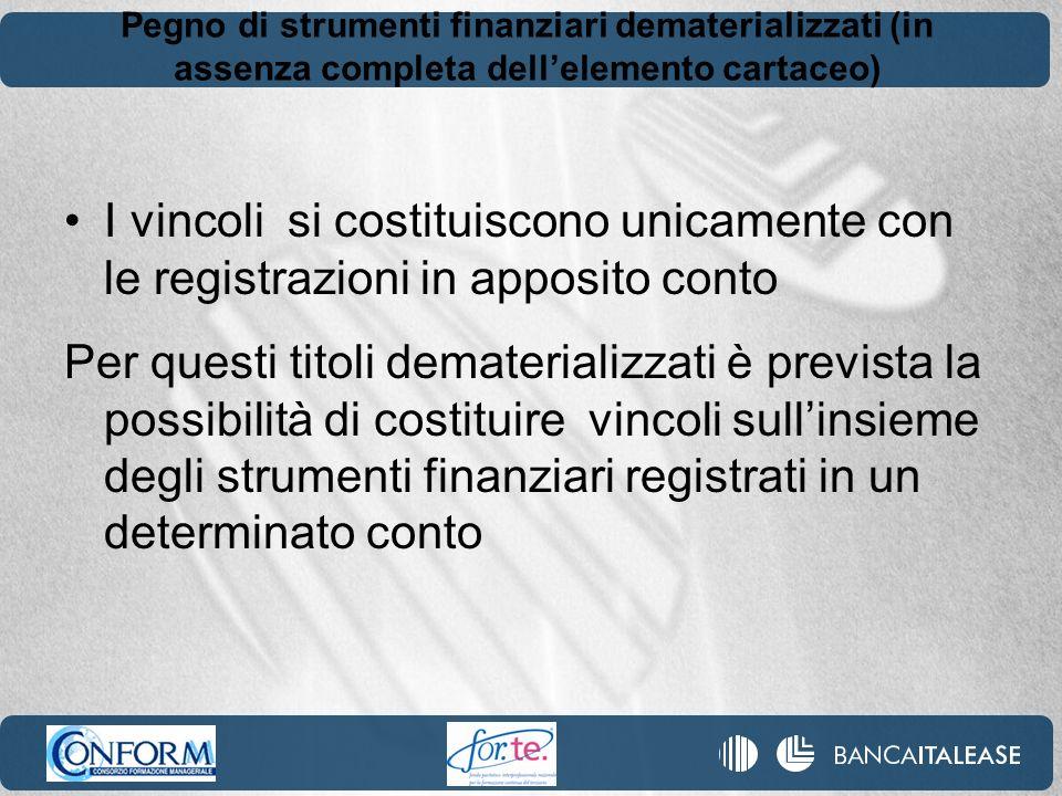 Pegno di strumenti finanziari dematerializzati (in assenza completa dellelemento cartaceo) I vincoli si costituiscono unicamente con le registrazioni