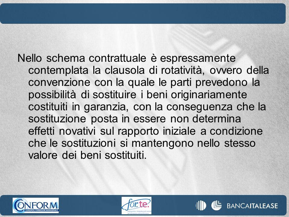 Nello schema contrattuale è espressamente contemplata la clausola di rotatività, ovvero della convenzione con la quale le parti prevedono la possibili