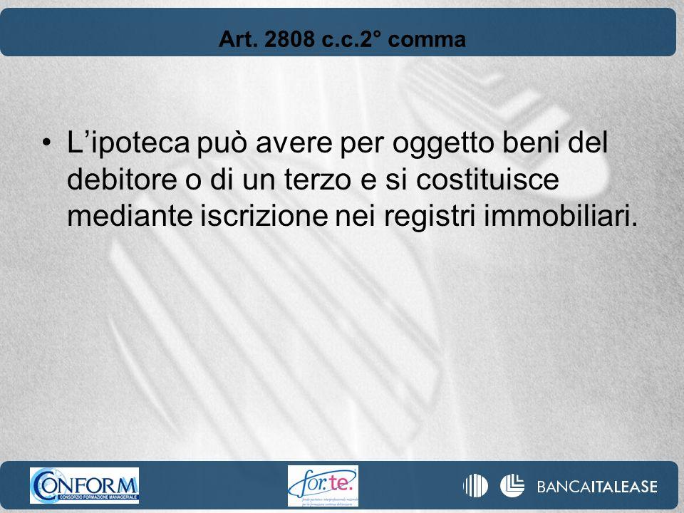 Art. 2808 c.c.2° comma Lipoteca può avere per oggetto beni del debitore o di un terzo e si costituisce mediante iscrizione nei registri immobiliari.