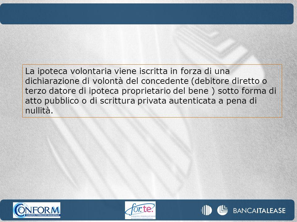 La ipoteca volontaria viene iscritta in forza di una dichiarazione di volontà del concedente (debitore diretto o terzo datore di ipoteca proprietario