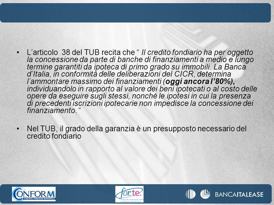 Larticolo 38 del TUB recita che Il credito fondiario ha per oggetto la concessione da parte di banche di finanziamenti a medio e lungo termine garanti