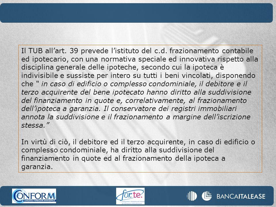 Il TUB allart. 39 prevede listituto del c.d. frazionamento contabile ed ipotecario, con una normativa speciale ed innovativa rispetto alla disciplina