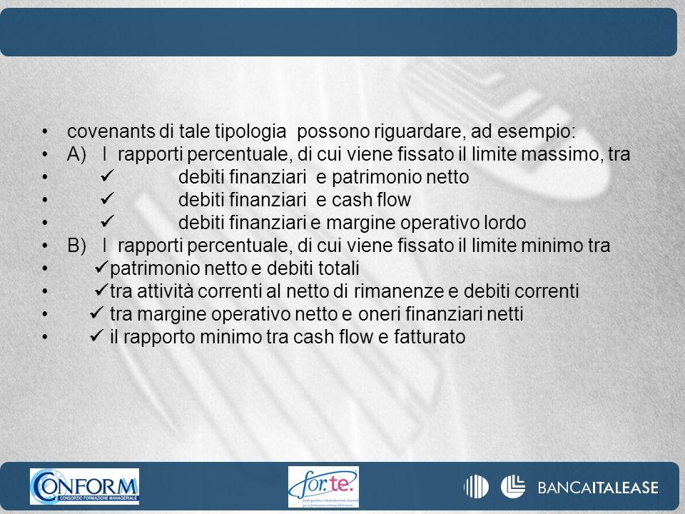 covenants di tale tipologia possono riguardare, ad esempio: A) I rapporti percentuale, di cui viene fissato il limite massimo, tra debiti finanziari e