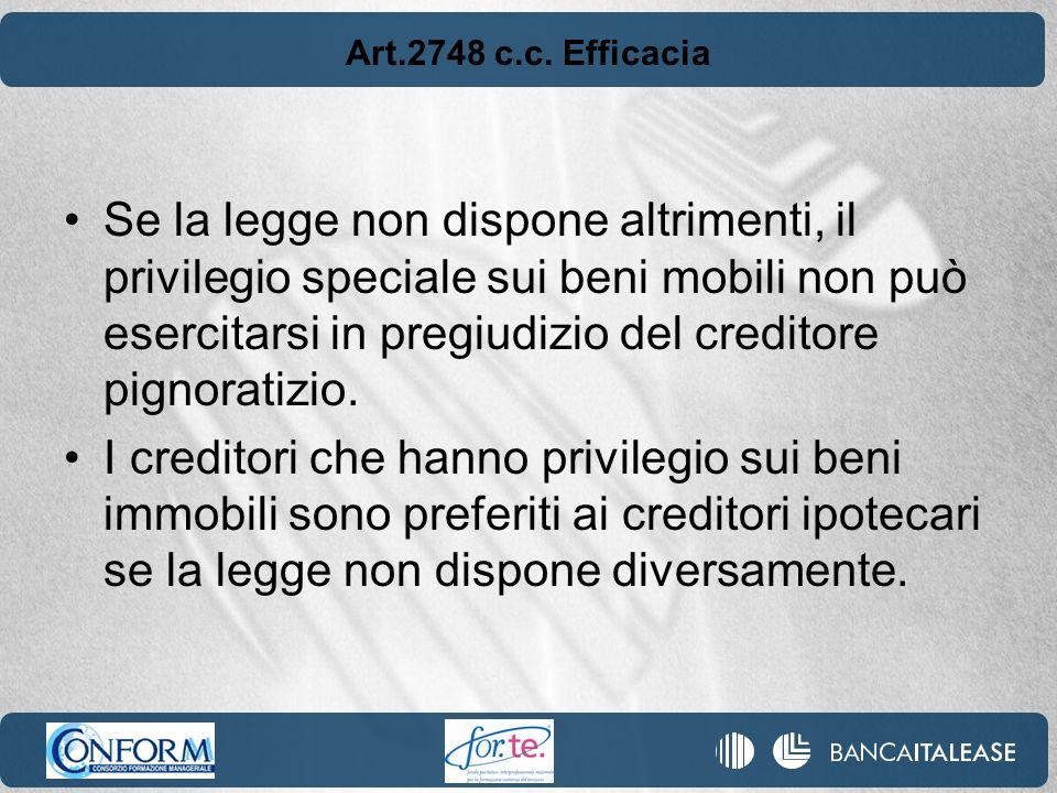 Art.2748 c.c. Efficacia Se la legge non dispone altrimenti, il privilegio speciale sui beni mobili non può esercitarsi in pregiudizio del creditore pi