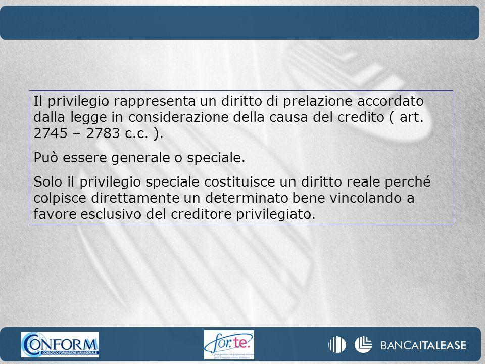 Il privilegio rappresenta un diritto di prelazione accordato dalla legge in considerazione della causa del credito ( art. 2745 – 2783 c.c. ). Può esse