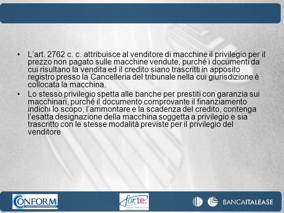 Lart. 2762 c. c. attribuisce al venditore di macchine il privilegio per il prezzo non pagato sulle macchine vendute, purché i documenti da cui risulta