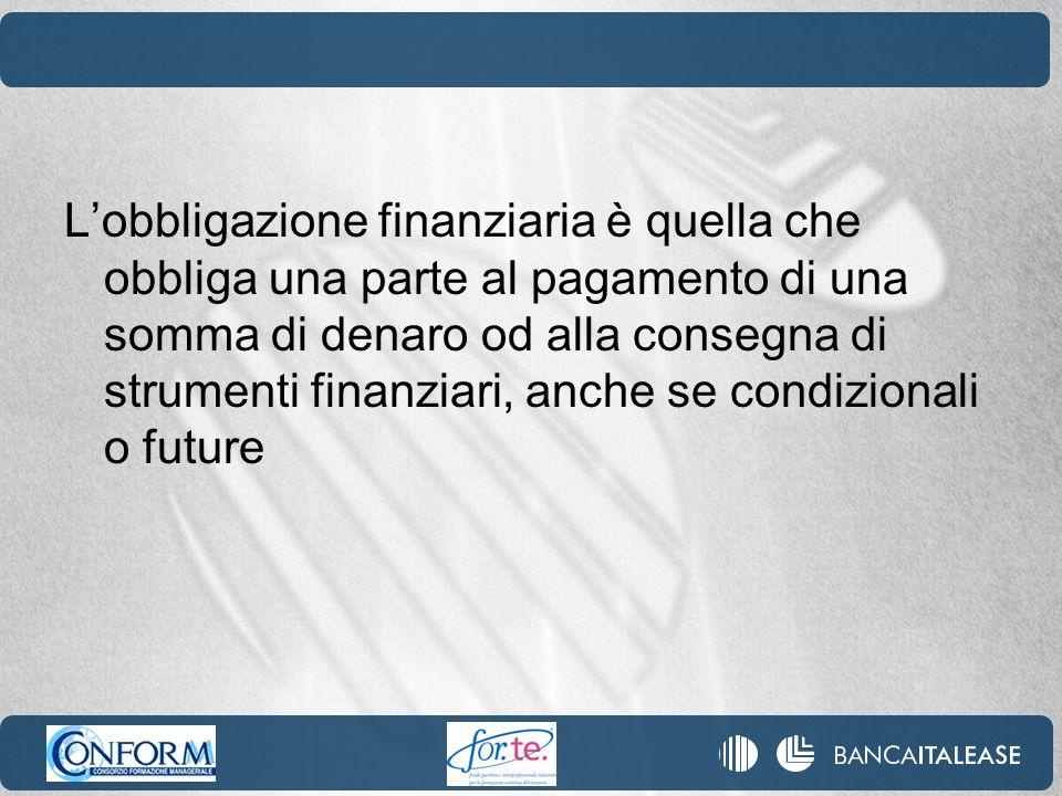 Lobbligazione finanziaria è quella che obbliga una parte al pagamento di una somma di denaro od alla consegna di strumenti finanziari, anche se condiz