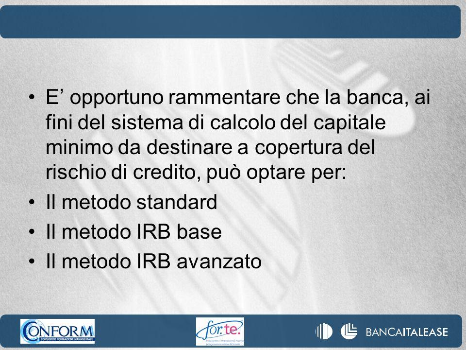 E opportuno rammentare che la banca, ai fini del sistema di calcolo del capitale minimo da destinare a copertura del rischio di credito, può optare pe