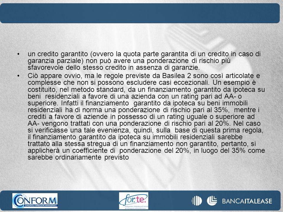 un credito garantito (ovvero la quota parte garantita di un credito in caso di garanzia parziale) non può avere una ponderazione di rischio più sfavor