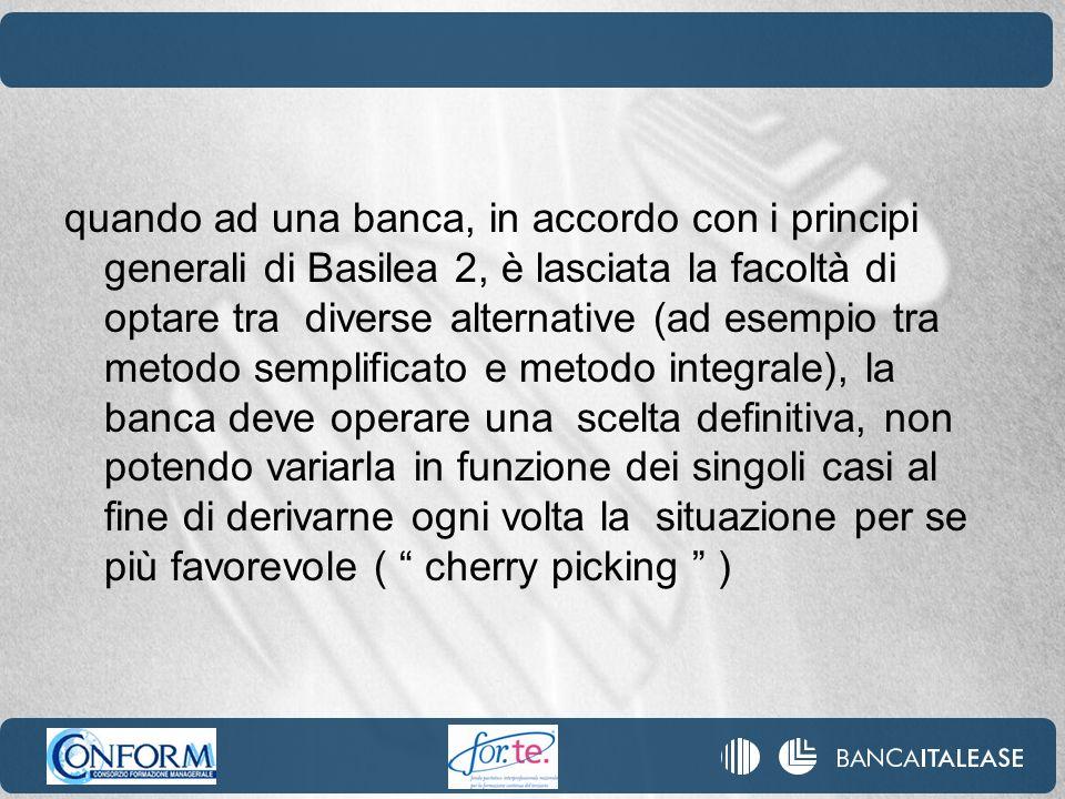 quando ad una banca, in accordo con i principi generali di Basilea 2, è lasciata la facoltà di optare tra diverse alternative (ad esempio tra metodo s