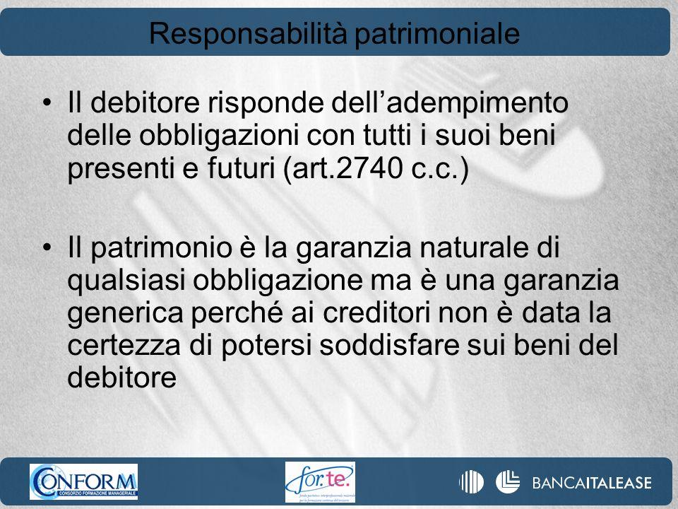 Responsabilità patrimoniale Il debitore risponde delladempimento delle obbligazioni con tutti i suoi beni presenti e futuri (art.2740 c.c.) Il patrimo