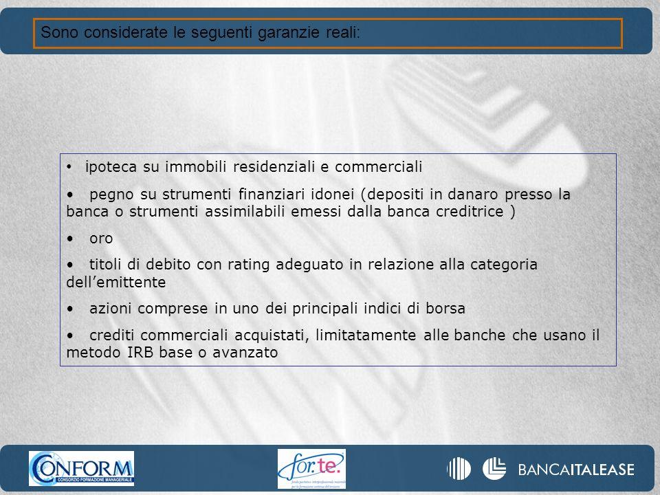 Sono considerate le seguenti garanzie reali: i poteca su immobili residenziali e commerciali pegno su strumenti finanziari idonei (depositi in danaro