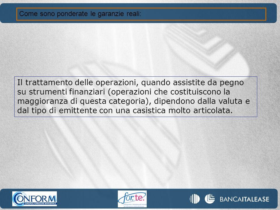 Come sono ponderate le garanzie reali: Il trattamento delle operazioni, quando assistite da pegno su strumenti finanziari (operazioni che costituiscon