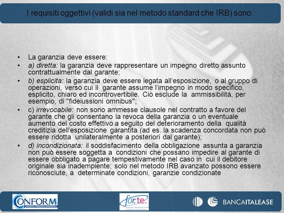 I requisiti oggettivi (validi sia nel metodo standard che IRB) sono: La garanzia deve essere: a) diretta: la garanzia deve rappresentare un impegno di