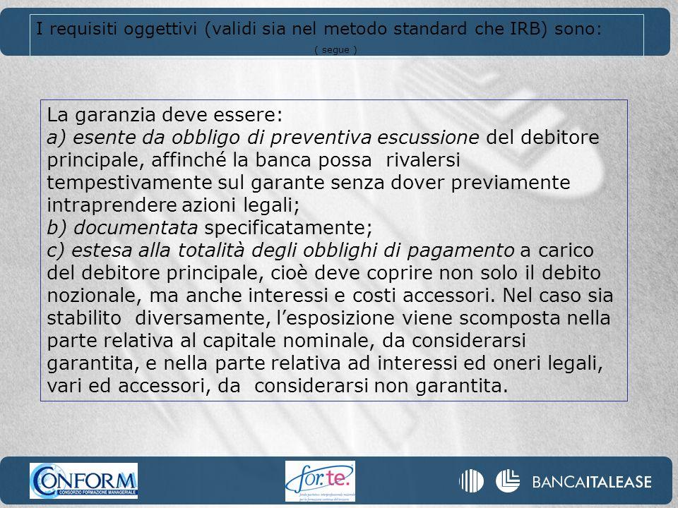 I requisiti oggettivi (validi sia nel metodo standard che IRB) sono: ( segue ) La garanzia deve essere: a) esente da obbligo di preventiva escussione