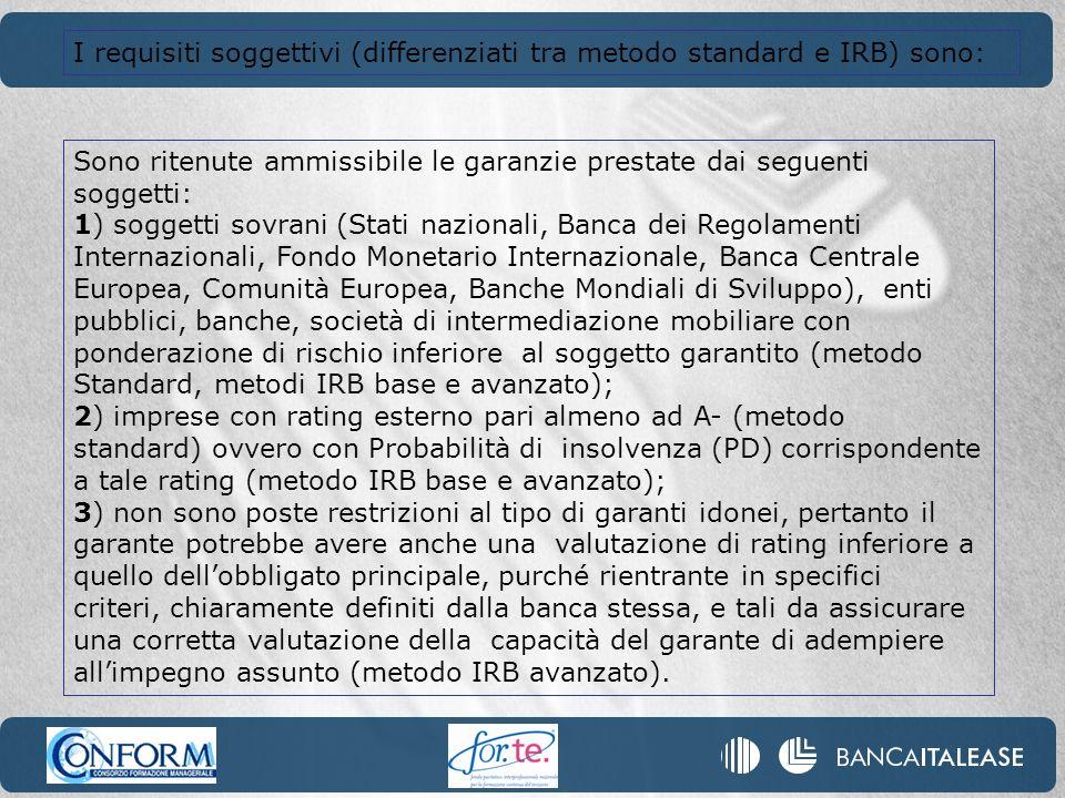 I requisiti soggettivi (differenziati tra metodo standard e IRB) sono: Sono ritenute ammissibile le garanzie prestate dai seguenti soggetti: 1) sogget