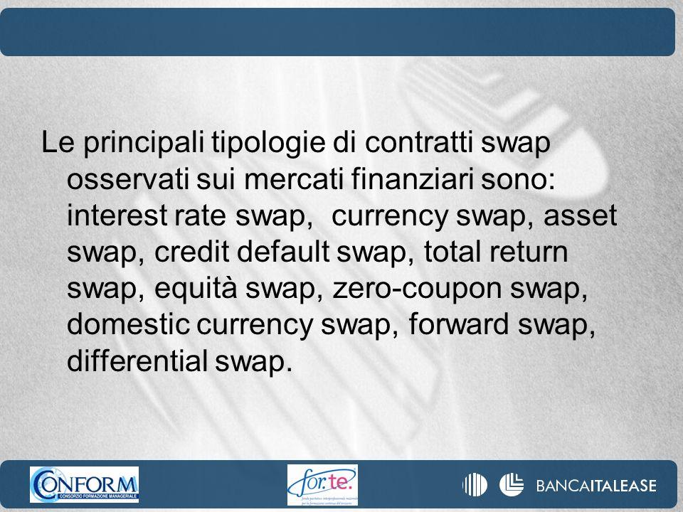 Le principali tipologie di contratti swap osservati sui mercati finanziari sono: interest rate swap, currency swap, asset swap, credit default swap, t