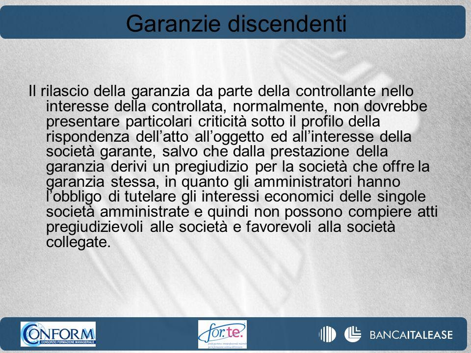 Garanzie discendenti Il rilascio della garanzia da parte della controllante nello interesse della controllata, normalmente, non dovrebbe presentare pa