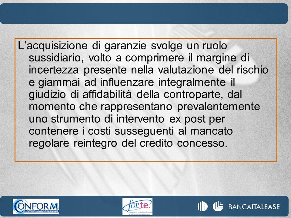 Lacquisizione di garanzie svolge un ruolo sussidiario, volto a comprimere il margine di incertezza presente nella valutazione del rischio e giammai ad