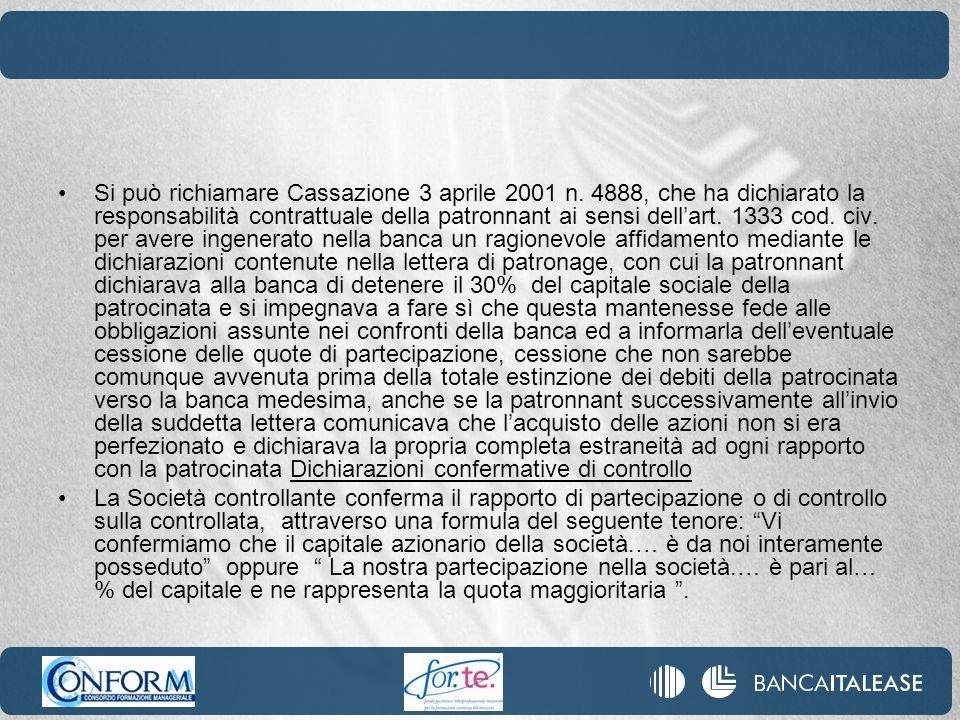 Si può richiamare Cassazione 3 aprile 2001 n. 4888, che ha dichiarato la responsabilità contrattuale della patronnant ai sensi dellart. 1333 cod. civ.