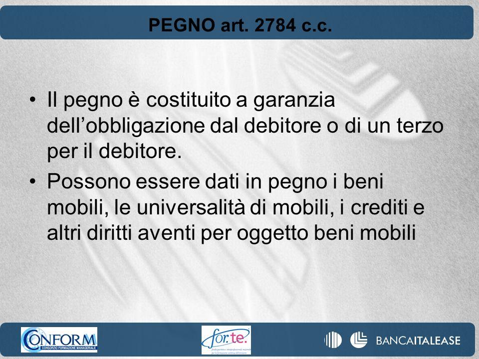 PEGNO art. 2784 c.c. Il pegno è costituito a garanzia dellobbligazione dal debitore o di un terzo per il debitore. Possono essere dati in pegno i beni