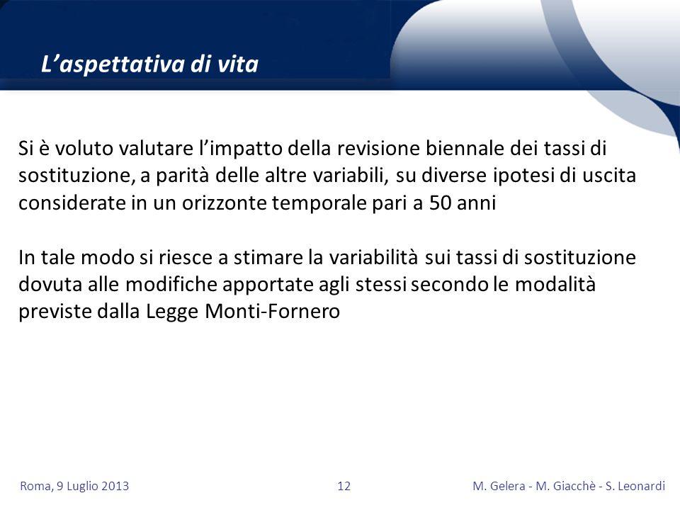 Roma, 9 Luglio 2013M. Gelera - M. Giacchè - S. Leonardi12 Laspettativa di vita Grande attenzione andrà posta anche nella scelta delle basi tecniche ec