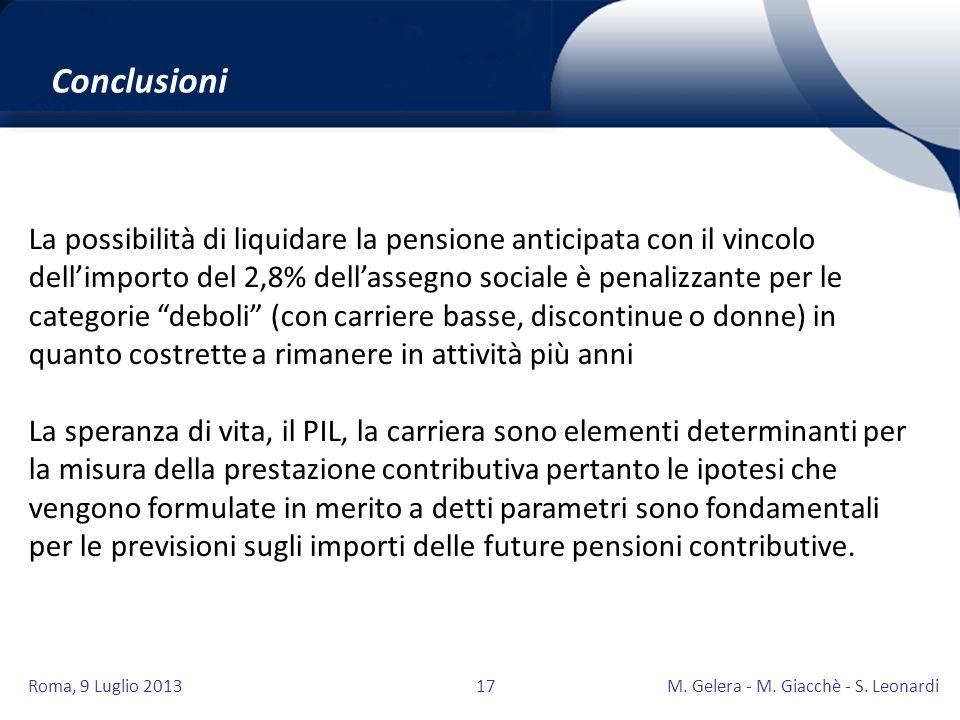 Roma, 9 Luglio 2013M. Gelera - M. Giacchè - S. Leonardi17 La possibilità di liquidare la pensione anticipata con il vincolo dellimporto del 2,8% della