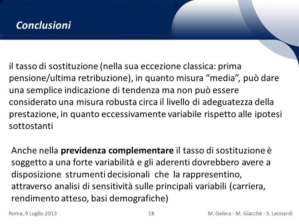 Roma, 9 Luglio 2013M. Gelera - M. Giacchè - S. Leonardi18 il tasso di sostituzione (nella sua eccezione classica: prima pensione/ultima retribuzione),