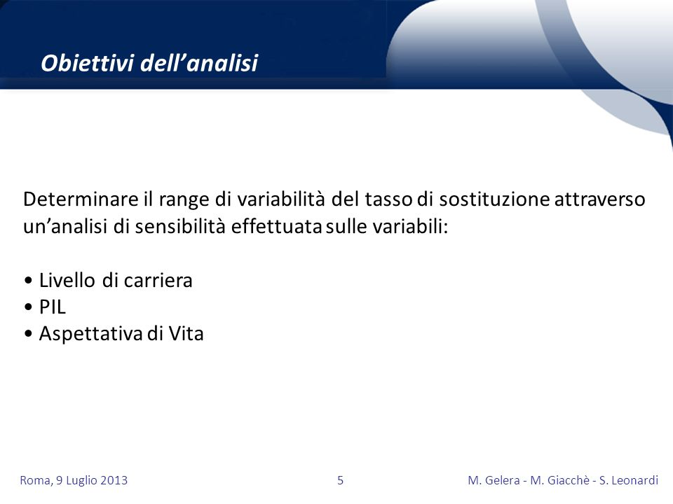Roma, 9 Luglio 2013M. Gelera - M. Giacchè - S. Leonardi5 Obiettivi dellanalisi Determinare il range di variabilità del tasso di sostituzione attravers