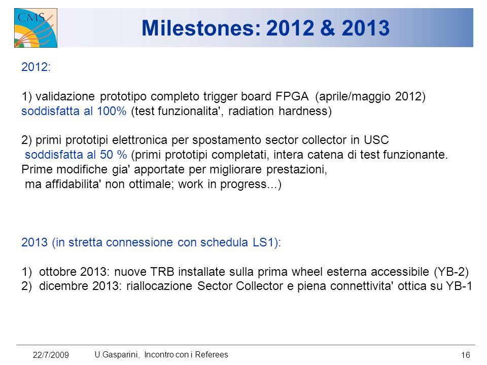 Milestones: 2012 & 2013 22/7/2009 U.Gasparini, Incontro con i Referees 16 2012: 1) validazione prototipo completo trigger board FPGA (aprile/maggio 20