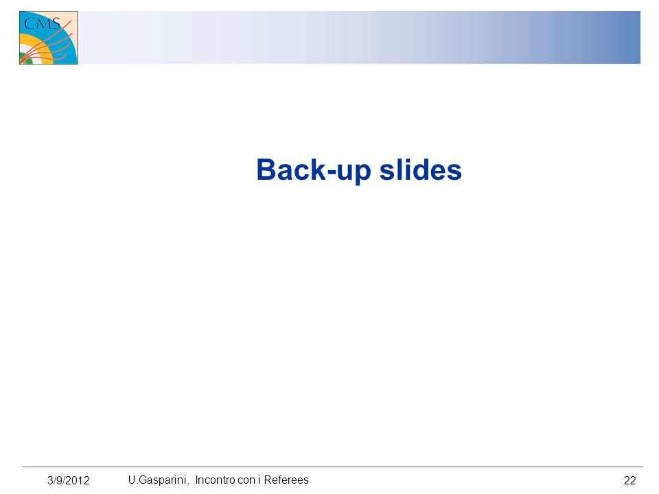 Back-up slides 3/9/2012 U.Gasparini, Incontro con i Referees 22