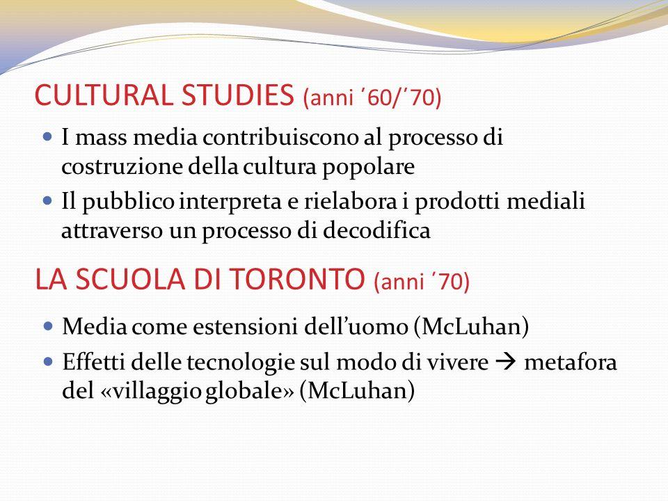 CULTURAL STUDIES (anni ΄60/΄70) I mass media contribuiscono al processo di costruzione della cultura popolare Il pubblico interpreta e rielabora i pro