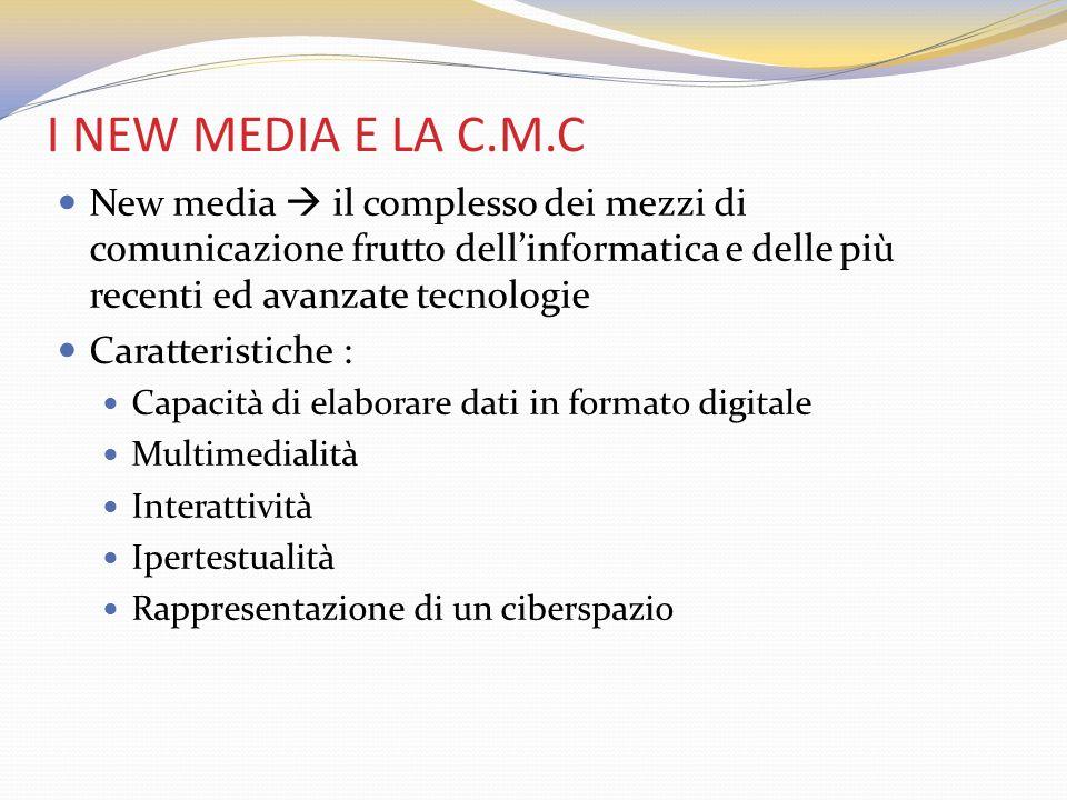 I NEW MEDIA E LA C.M.C New media il complesso dei mezzi di comunicazione frutto dellinformatica e delle più recenti ed avanzate tecnologie Caratterist