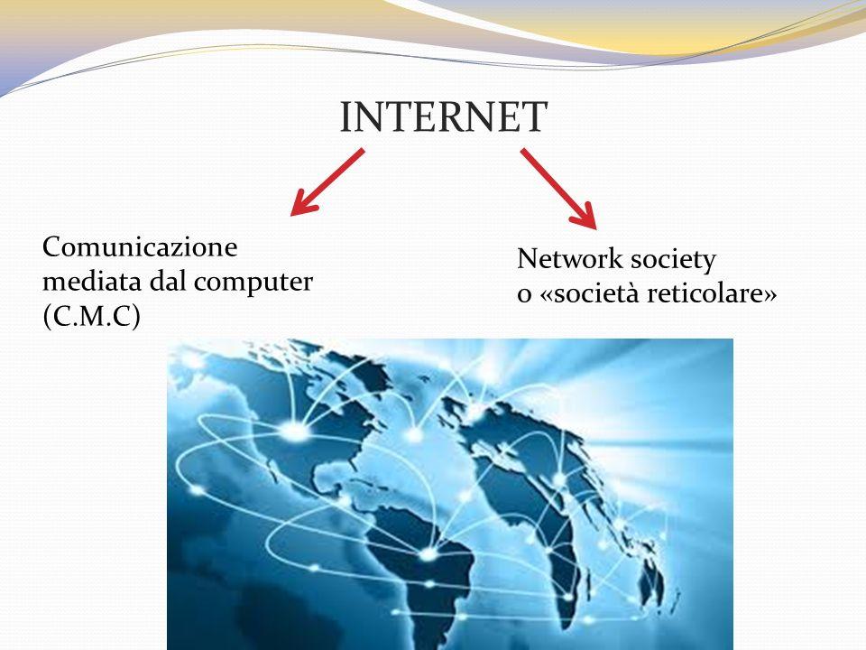 INTERNET Comunicazione mediata dal computer (C.M.C) Network society o «società reticolare»