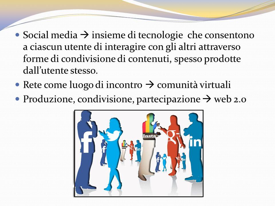 Social media insieme di tecn0logie che consentono a ciascun utente di interagire con gli altri attraverso forme di condivisione di contenuti, spesso p