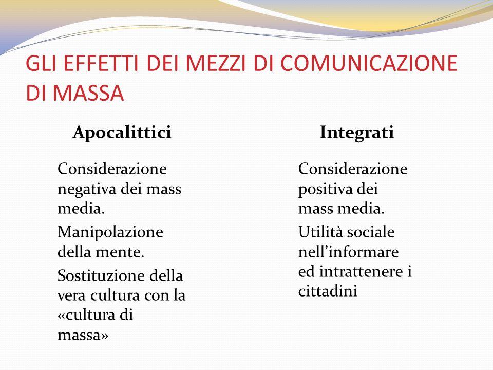 GLI EFFETTI DEI MEZZI DI COMUNICAZIONE DI MASSA Apocalittici Considerazione negativa dei mass media. Manipolazione della mente. Sostituzione della ver